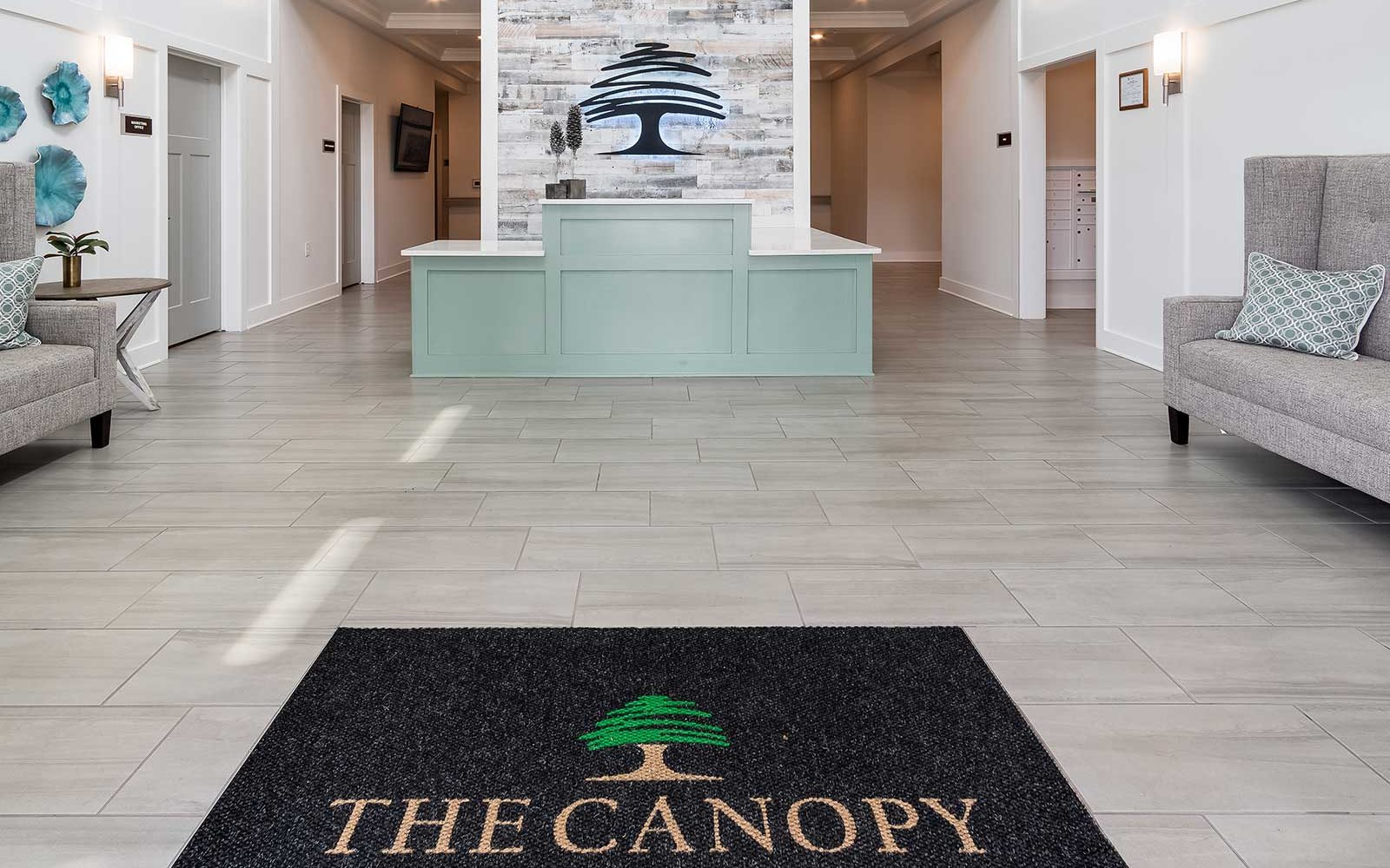 View of lobby and atrium at The Canopy at Walden Woods assisted living and memory care community